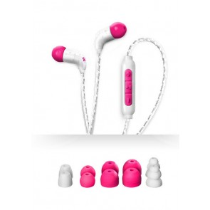 X-1 In-Ear Ultra Light Headphones - WHITE & PINK by H2O Audio